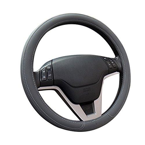 MFBEE Automotive Leder Lenkradabdeckung Universal Atmungsaktive Anti-Rutsch-Schutzabdeckung Vier Jahreszeiten Universal 38CM Schwarz,Gray