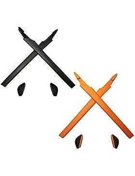 HKUCO Plus Black/Orange Replacement Silicone Leg Set For Oakley Crosslink Sunglasses Earsocks Rubber Kit