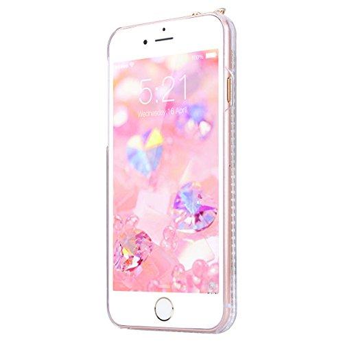 GrandEver iPhone 7 Plus Glitzer Hülle Weiche Silikon Handyhülle Diamant Ohren Gel Bling TPU Bumper Liquid Fließen Flüssigkeit Schutzhülle für iPhone 7 Plus Rückschale Klar Handytasche Anti-Kratzer Sto Rot