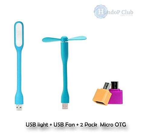 [COMBO] USB Flexible Portable Mini Fan + USB LED Light Lamp + [Micro OTG(2 pack)]  available at amazon for Rs.174