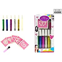 Girlz Body Design Stifte 6 Stück Glitzer Gel Stifte Tattoo Set komplett 13 teilig Body Glitter Art
