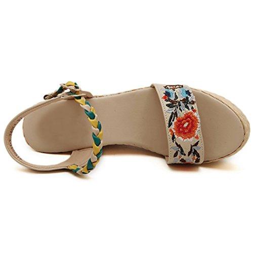 QIYUN.Z Femmes Nouvelles Boheme Motif De Fleur D'Ete A Bout Ouvert Sandales Retro Wedge Chaussures Talons Abricot