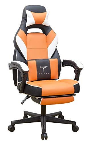 Topsky hohe Rückenlehne Racing Stil PU-Leder Executive Computer Gaming Bürostuhl Ergonomisches liegendes Design mit Lendenkissen Fußstütze und Kopfstütze (Orange) -