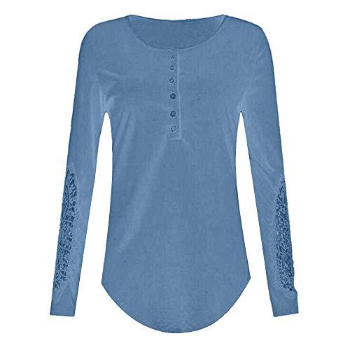 OSYARD Damen Sweatshirt,Oberseiten,Pullover, Frauen Langarm Tunika Hemd Oberteile Spitze Bluse Tops T-Shirt Slim Fit Rundhals Pulli Oversize Kleidung Streetwear(XL, Blau)