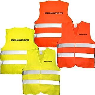 Nashville print factory Warnweste orange mit Text Bedruckt Rückendruck + Brustdruck Sicherheitsweste EN ISO 20471 (Brandschutzhelfer)