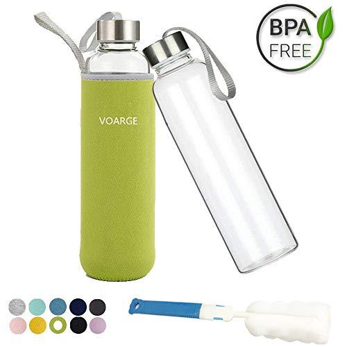 Voarge Glasflasche - BPA-frei 550ml Trinkflasche Classic mit Nylon Tasche - für Auto - für Unterwegs Sport Flasche Glas Flasche Water Bottle Wasserflasche Trinkflasche aus Glas (Grüne)