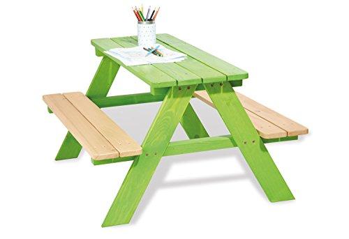 Pinolino 201623 - Kindersitzgarnitur Nicki für 4 grün, Vollmassiv: Fichte, grün und klar lasiert
