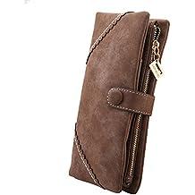 Cozyswan Mode Leder Geldbörse Geldbeutel mit Knopf Damen Lange Damenhandtasche Portemonnaie