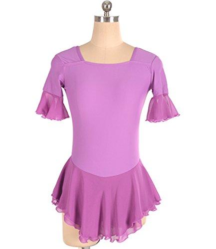 Heart&M Eislaufen Kleid für Mädchen Frauen Figur Abbildung Praxis Kostüm Skating Trikots Kurzen Ärmeln Lila, XS