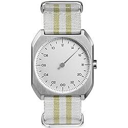 slow Mo 13 - Schweizer Unisex Einzeigerarmbanduhr analoge 24 Stunden Anzeige silber mit gelb/grauem Nylonband