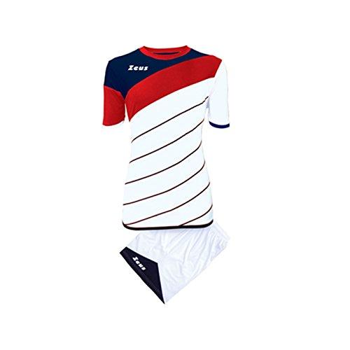 Kit zeus lybra bianco-rosso-blu completino completo calcio calcetto torneo scuola sport training volley pegashop (l)