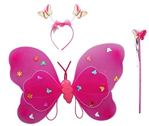 (Magische Fee Flügel Stab Stirnband Fancy Dress up Kostüm Outfit (Einzelne Schicht, Pink))