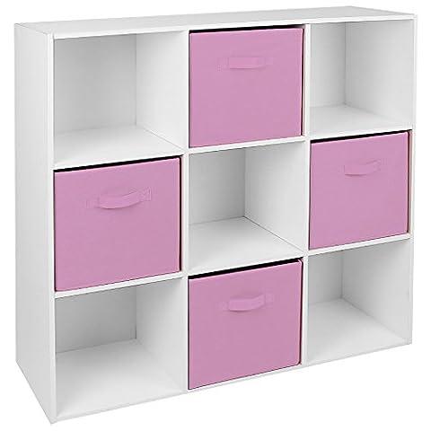 Hartleys White 9 Cube Unit & 4 Pink Storage Drawers