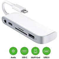 SD TF-Kartenleser, USB auf Lightening-Adapter, 5-in-1-Kartenleser, Adapter mit 1 x USB 2.0 OTG-Schnittstelle, SD/TF-Kartenleser, 1 x PD-Anschluss, 3,5 mm Klinkenstecker, Keine App erforderlich