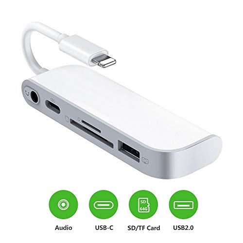 SD TF-Kartenleser, USB auf Lightening-Adapter, 5-in-1-Kartenleser, Adapter mit 1 x USB 2.0 OTG-Schnittstelle, SD/TF-Kartenleser, 1 x PD-Anschluss, 3,5 mm Klinkenstecker, Keine App erforderlich Usb-kamera-os X