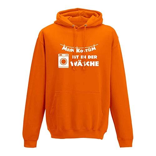 Hoodie Mein Kostüm ist in der Wäsche Karneval Fasching 10 Farben Herren XS - 5XL Weiberfastnacht Rosenmontag Sitzung Mottoparty Fun-Shirt, Größe:S, Farbe:orange - Logo Weiss