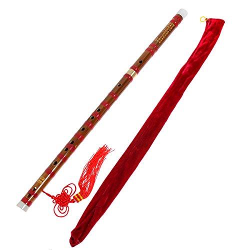 Kmise Rot Traditionelle Handgemachte Dizi Bambusflöte chinesische Musikinstrument C-Taste