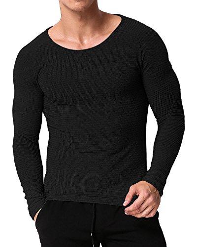 MODCHOK Herren Sweatshirt Longsleeve Shirt Hemd Crew-Neck T-Shirt Basic Slim Fit 1 Schwarz S - Crewneck Long Sleeve Top
