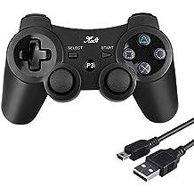 Controlador inalámbrico Bluetooth de Kabi para PS3 con vibración dual de 6 ejes, controlador para Playstation 3, incluye cable de carga negro Negro