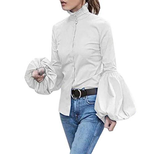 Moderne Homme Kostüm - TOPSELD Mode-Frauen-beiläufige volle Hülsen-Laterne-Hülsen-Kragen-Fest Enge Bluse