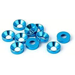 sourcingmap M5 Cabeza Plana Tornillo Perno Aluminio Avellanado Arandelas Azul 12 Pzas