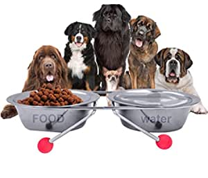 The DDS Store Double Diner Pet Bowls Cups, Stainless Steel Food Water Bowls Bunny Feeder Coop Cups with Non Slip Feeding Station for Dogs Cats Rabbit (2 X 900 ML (Medium))