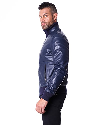 D'Arienzo Blouson d'aviateur en cuir véritable avec col, fond et poignets de laine, Bleu Bleu