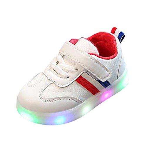 Sunday Kleinkind Kinder Sport Laufende LED Turnschuhe Blinkschuhe für Mädchen Jungen Unisex Baby Schuhe Blume LED Leucht Schuhe Turnschuhe (24, Rot)