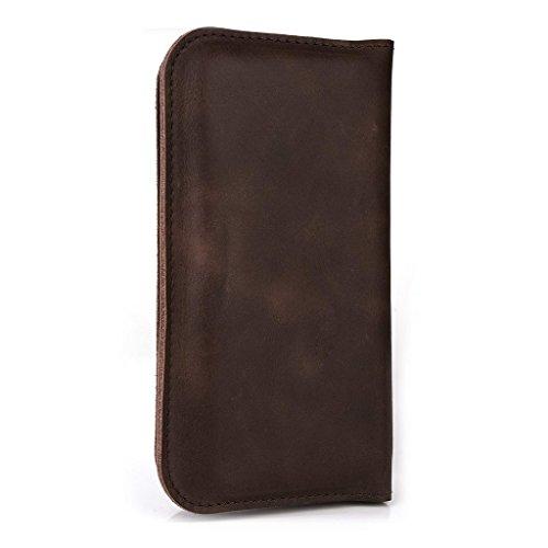 Étui portefeuille en cuir véritable pour Samsung Galaxy V/Ace II X Housse noir - noir Marron - marron