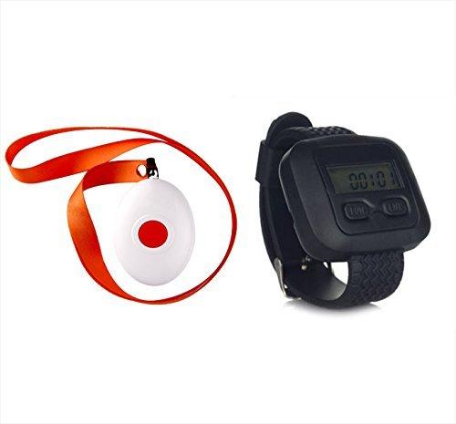 Pflegeruf-Set, Pflegeruf System: Rufsender APE 160 + Drahtloser Armbanduhr Ruf-Empfänger für Senioren APE6600. Drahtlos. Reichweite - ca. 100 m -