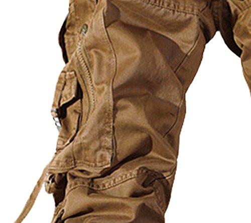 Panegy Adultes Combat Pantalon Taille 36-50 pour Homme Treillis Militaire Cargo Armee Pantalon de Travail Loisir Sport Multi Poches Coton avec Ceinture Uni Gris/Noir/Kaki/Vert/Jaune Jaune