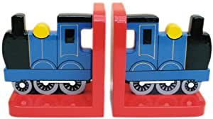 Blue Train On Red Wooden Bookends - Hand Made in UK
