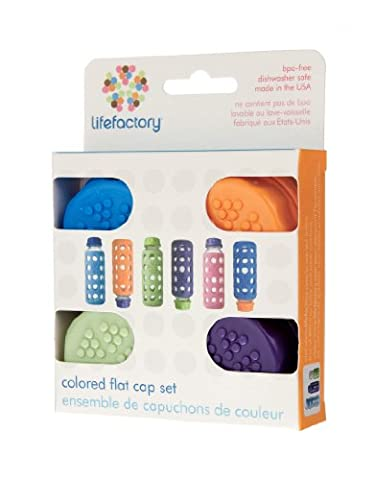 Lifefactory Flat Caps for 4 and 9 oz Bottles, Glass,