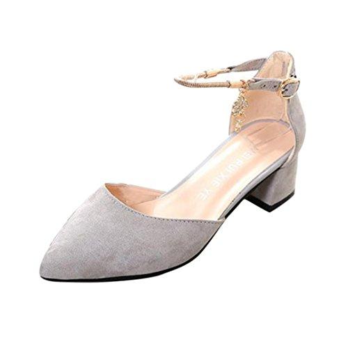 Frühling Sommer Sandalen Damen, DoraMe Frauen High Heels Hochzeit Schuhe Plattform Keil Schuhe Mode Freizeit Pumps Elegant Party Einzelne Schuhe (39, Grau) (Plattform-schuh -)