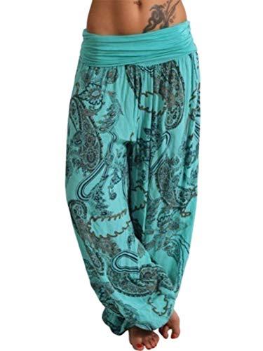 Tomwell Damen Elegant Pumphose Haremshose Blumenmuster Lange Hose Leichte Sommerhose Aladin Pants A Grün X-Small - Grüne Damen Sleep-pant