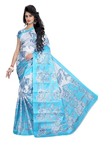 Sarees for women's latest design (sky blue) for party wear buy in .diwali festival offer in low price sale .bhagalpuri paper art silk fabric latest design collection .fancy material latest sarees.with designer beautiful bollywood sarees for women's party wear offer designer sarees without blouse piece,new collection sari. Sarees for women's new party wear sarees form Shushila saree  available at amazon for Rs.319