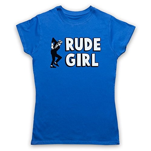 Rude Girl Jamaican Street Culture Slogan Damen T-Shirt Blau