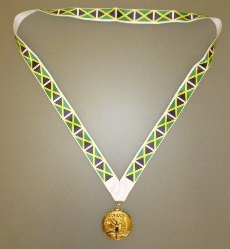 SATZ-12-Sieger-Medaille-von-Jamaika-Goldmetallmedaille-Mit-der-jamaikanischen-Fahne-Lanya