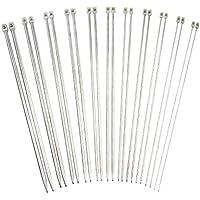 Agujas de tejer, EverFabulous 11 pares (22 piezas) Acero inoxidable Recto único puntiagudo Kit de artesanía 2.0mm 2.5mm 3.0mm 3.5mm 4.0mm 4.5mm 5.0mm 5.5mm 6.0mm 7.0mm 8.0mm(14 pulgadas) (14 Pulgadas)