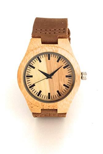 Damenuhr aus Holz (Bambu) Natur, handgefertigt aus hochwertigen umweltfreundlichen Materialien   Sammleruhr   analoge Armbanduhr mit Lederband   Geschenk zum Geburtstag modern und elegant