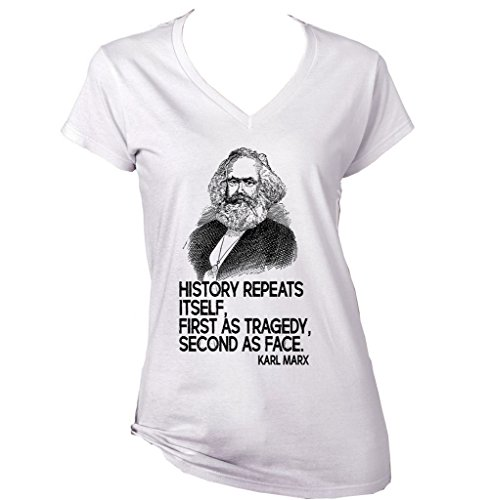 Teesquare1st Women's MARX KARL HISTORY QUOTE White T-Shirt