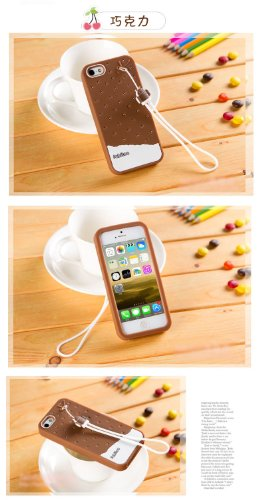 & Apple iPhone 5/5s/coque de protection en Silicone avec bretelles marron (Crème glacée)