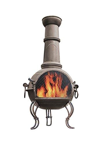 *La Hacienda 56903107cm großer Murcia Edelstahl Gartenkamin mit Grill–Bronze*