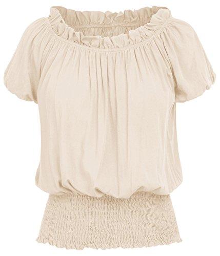 Renaissance Gotischen Viktorianischen Glockenärmel Schulterfrei Tops Tuinc Tops Shirts Hautfarbe X-Large