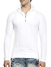 Tees Collection Men's Half Zip Double Flap Collar Full Sleeve Cotton T-shirt