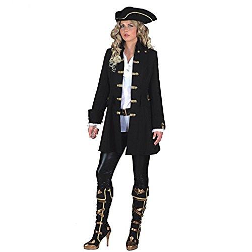Piratin Kostüm Übergröße - Karneval Kostüm Jacke Piratin schwarz, Gr.
