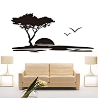 Creative DIY Wall Art Big Tree and Seagulls Nature Wall Stickers Kids Rooms Home Decoration Seaside Sunset Scenery Wall Decals 92cm X 43cm