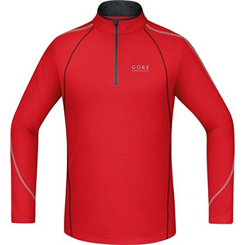 GORE RUNNING WEAR Camiseta de manga larga para correr, Hombre, GORE Selected Fabrics, ESSENTIAL Zip Shirt long, Talla L, Rojo/Negro, SSMESS359905