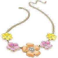 Collana in oro giallo rosa arancione Fiore Smaltato