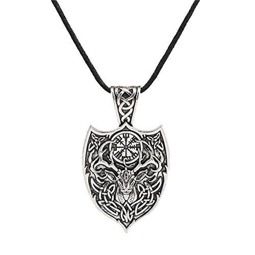 fishhook Wicca - Collar con Colgante de Amuleto de Ciervo irlandés Aegishjalmur